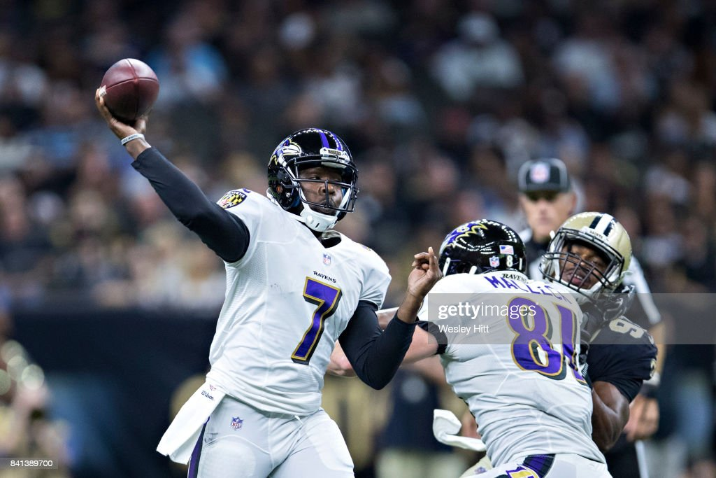 Thaddeus Lewis #7 of the Baltimore Ravens throws a pass during a preseason game against the New Orleans Saints at Mercedes-Benz Superdome on August 31, 2017 in New Orleans, Louisiana. The Ravens defeated the Saints 14-13.