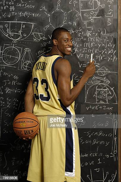 Thaddeus Young college basketball player at Georgia Institute of Technology poses in front of a chalkboard on October 20 2006 in Atlanta Georgia At...
