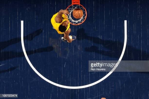 Thaddeus Young of the Indiana Pacers dunks the ball against the Boston Celtics on November 3 2018 at Bankers Life Fieldhouse in Indianapolis Indiana...