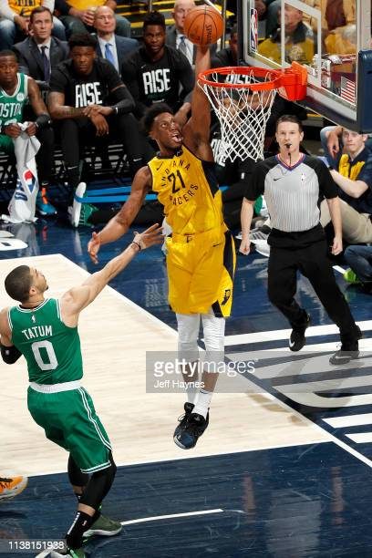 Thaddeus Young of the Indiana Pacers dunks the ball against the Boston Celtics during Game Three of Round One of the 2019 NBA Playoffs on April 19...