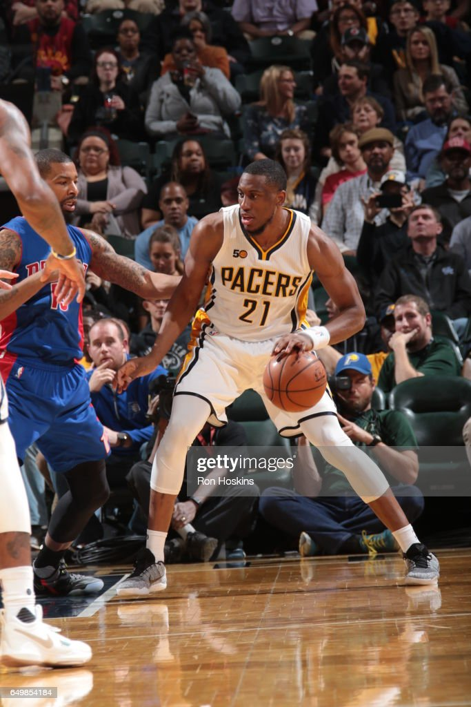 Thaddeus Young #21 of the Indiana Pacers handles the ball against the Detroit Pistons on March 8, 2017 at Bankers Life Fieldhouse in Indianapolis, Indiana.