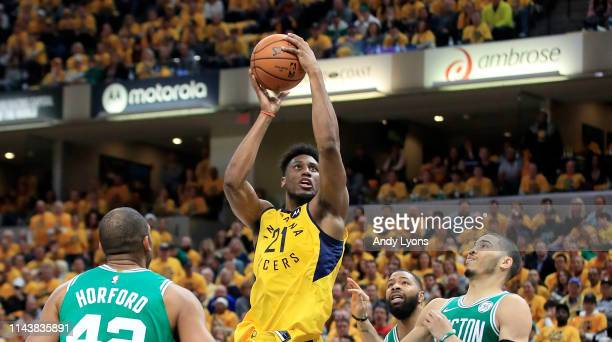 Thaddeus Young of the Indiana Pacers shoots the ball against the Boston Celtics in game three of the first round of the 2019 NBA Playoffs at Bankers...
