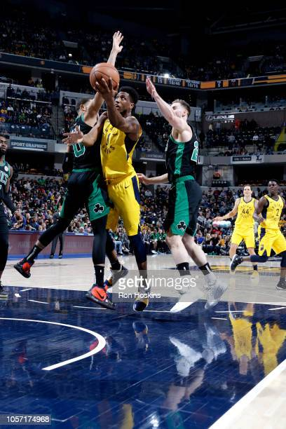 Thaddeus Young of the Indiana Pacers shoots the ball against the Boston Celtics on November 3 2018 at Bankers Life Fieldhouse in Indianapolis Indiana...