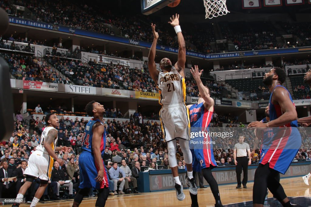 Thaddeus Young #21 of the Indiana Pacers shoots the ball against the Detroit Pistons on March 8, 2017 at Bankers Life Fieldhouse in Indianapolis, Indiana.