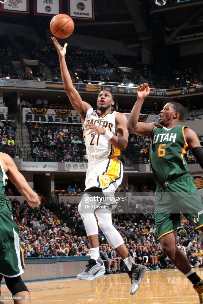 Thaddeus Young #21 of the Indiana Pacers shoots the ball against the Utah Jazz on March 20, 2017 at Bankers Life Fieldhouse in Indianapolis, Indiana.