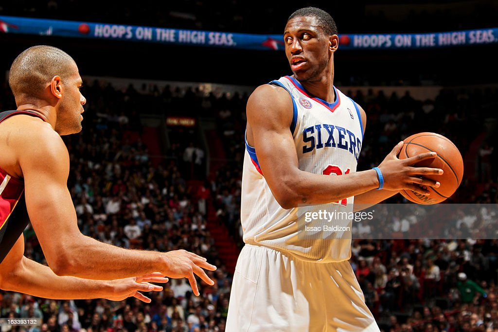 Thaddeus Young #21 of the Philadelphia 76ers controls the ball against Shane Battier #31 of the Miami Heat on March 8, 2013 at American Airlines Arena in Miami, Florida.