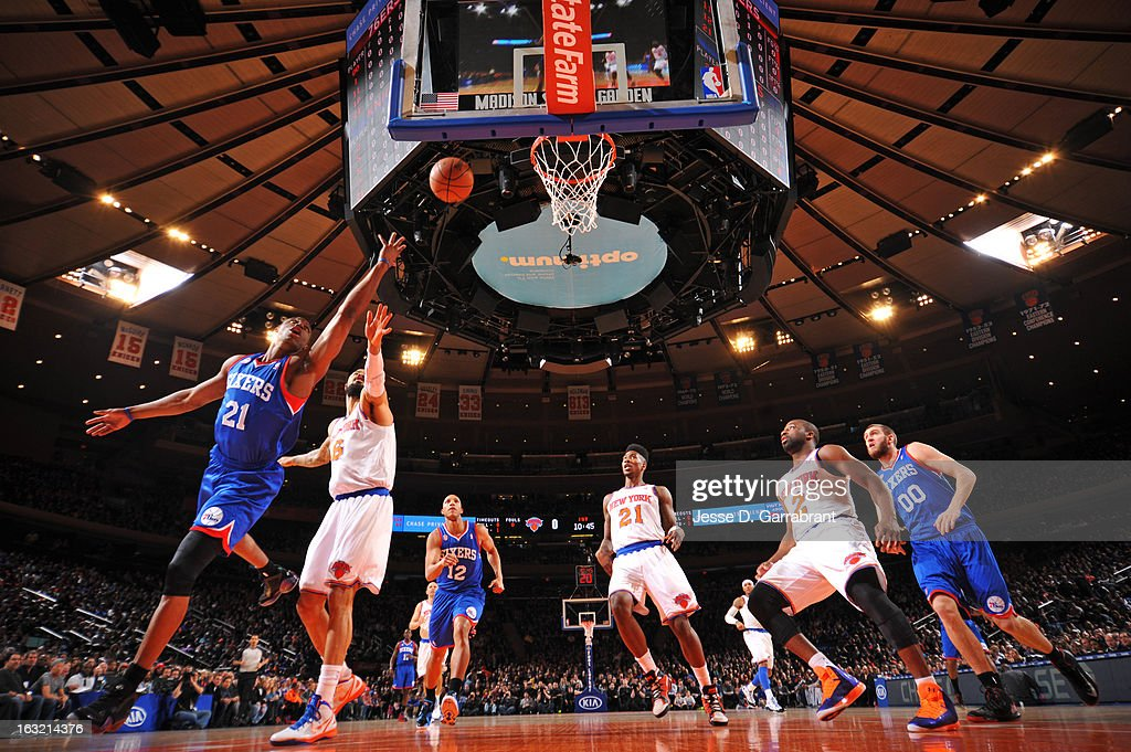 Thaddeus Young #21 of the Philadelphia 76ers drives to the basket against the New York Knicks on February 24, 2013 at Madison Square Garden in New York City, New York.