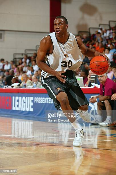 Thaddeus Young of the Philadelphia 76ers drives upcourt during Game 2 of the NBA Summer League against the Detroit Pistons on July 7, 2007 at the Cox...