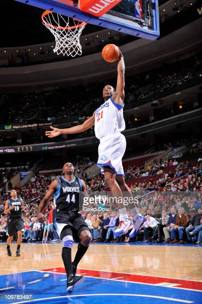 Thaddeus Young of the Philadelphia 76ers dunks against the Minnesota Timberwolves on March 4 2011 at the Wells Fargo Center in Philadelphia...