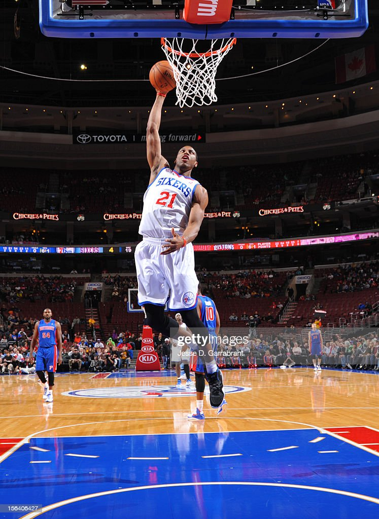 Thaddeus Young #21 of the Philadelphia 76ers goes to the basket during the game between Detroit Pistons and the Philadelphia 76ers at the Wells Fargo Center on November 14, 2012 in Philadelphia, Pennsylvania.