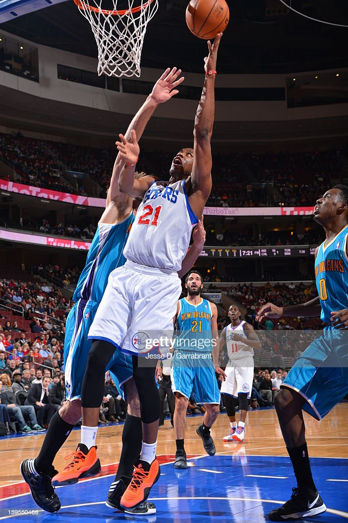 Thaddeus Young #21 of the Philadelphia 76ers shoots a layup against the New Orleans Hornets during the game at the Wells Fargo Center on January 15, 2013 in Philadelphia, Pennsylvania.