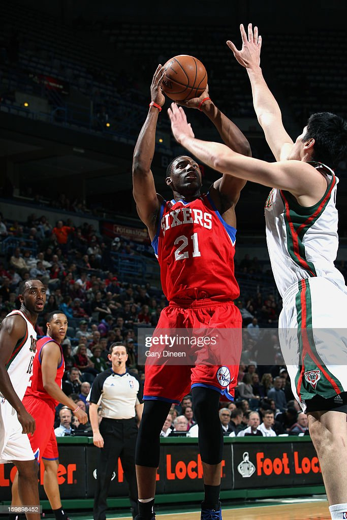 Thaddeus Young #21 of the Philadelphia 76ers shoots against Ersan Ilyasova #7 of the Milwaukee Bucks on January 22, 2013 at the BMO Harris Bradley Center in Milwaukee, Wisconsin.
