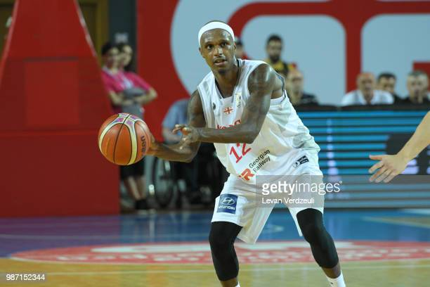 Thaddus McFadden of Georgia passes the ball during the FIBA Basketball World Cup Qualifier match between Georgia and Serbia at Tbilisi Sports Palace...