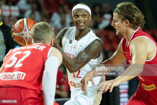 Thaddus McFadden of Georgia passes the ball during the FIBA Basketball World Cup Qualifier match between Georgia and Austria at Tbilisi Sports Palace...