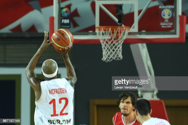 Thaddus McFadden of Georgia throws the ball during the FIBA Basketball World Cup Qualifier match between Georgia and Serbia at Tbilisi Sports Palace...