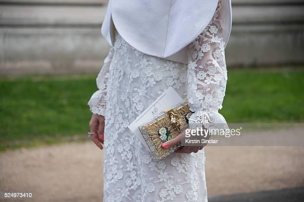 Thai Actress Araya Alberta Hargate wears a Del Pozo jacket and Giambattista Valli dress on day 7 during Paris Fashion Week Autumn/Winter 2016/17 on...