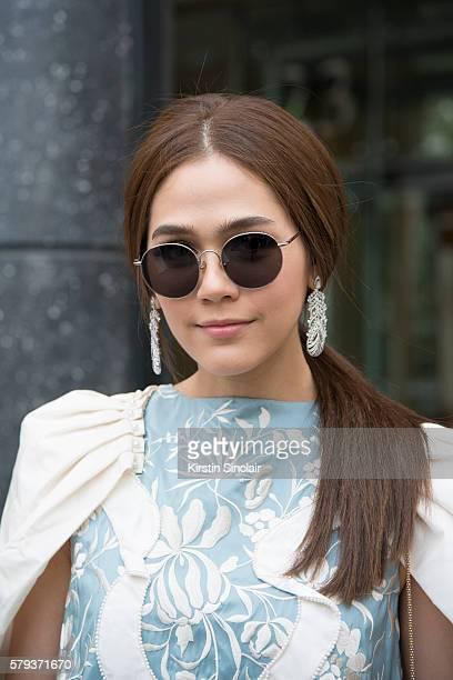 Thai actress Araya Alberta Hargate wears a Theatre Bangkok dress day 4 of Paris Haute Couture Fashion Week Autumn/Winter 2016 on July 6 2016 in Paris...