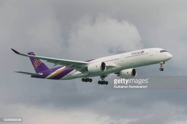 Thai airways Airbus 350-900 landing at Phuket airport
