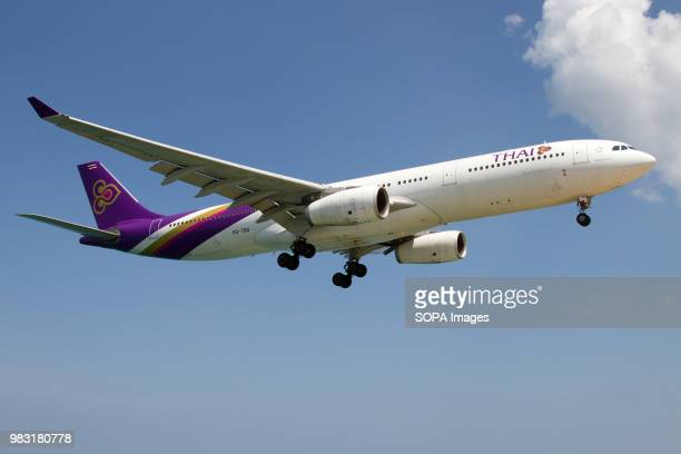 Thai Airways Airbus A330300 about to land at Phuket airport