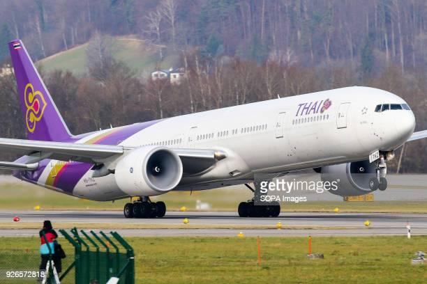 AIRPORT ZURICH SWITZERLAND Thai airways Boeing 777300ER aircraft departing Zurich for Bangkok