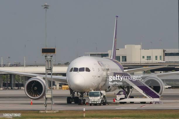 Thai Airways International Boeing 7878 Dreamliner in Suvarnabhumi Airport also known unofficially as Bangkok Airport because Bangkok has two...