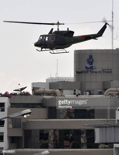 A Thai army helicopter takes off from the top of the Royal C