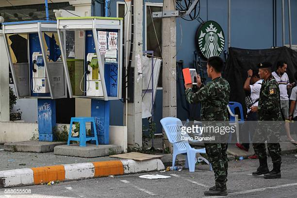 Thai Army soldiers take pictures at the site of an explosion on Friday August 12 2016 in Hua Hin Thailand A series of coordinated blasts across...