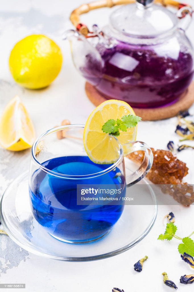 Thai Blue Butterfly Pea Tea : Stock Photo