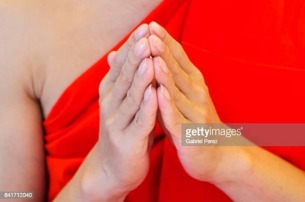 A Thai Buddhist Monk in Prayer