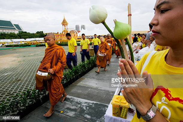 Thai Buddhist monks gather to offer prayers for peace. Thailand is a predominantly Buddhist nation.