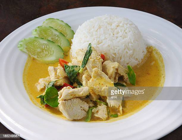 thai chicken curry with vegetables in coconut milk (xxxl) - curry powder stock photos and pictures
