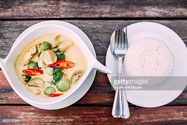Thai chicken green curry with rice