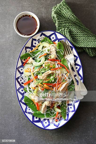 Thai Chicken Salad with Rice Noodles .Top view