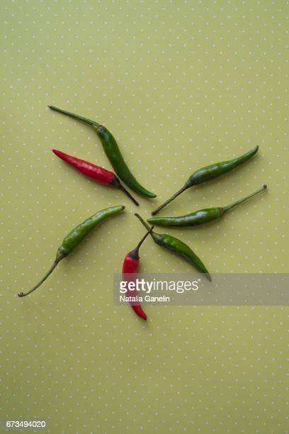 Thai chili peppers on green background
