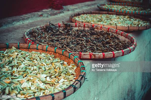 Thai colorful spices at market in Chinese village Mae Salong, northern Thailand
