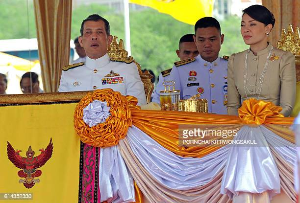 Thai Crown Prince Maha Vajiralongkorn and Princess Srirasm attend the annual Royal Ploughing Ceremony at Sanam Luang in Bangkok on May 13 2011 Result...