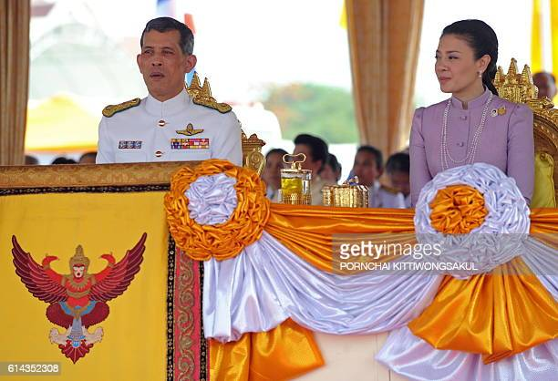 Thai Crown Prince Maha Vajiralongkorn and Princess Srirasmi attend the annual Royal Ploughing Ceremony at Sanam Luang in Bangkok on May 13 2010...