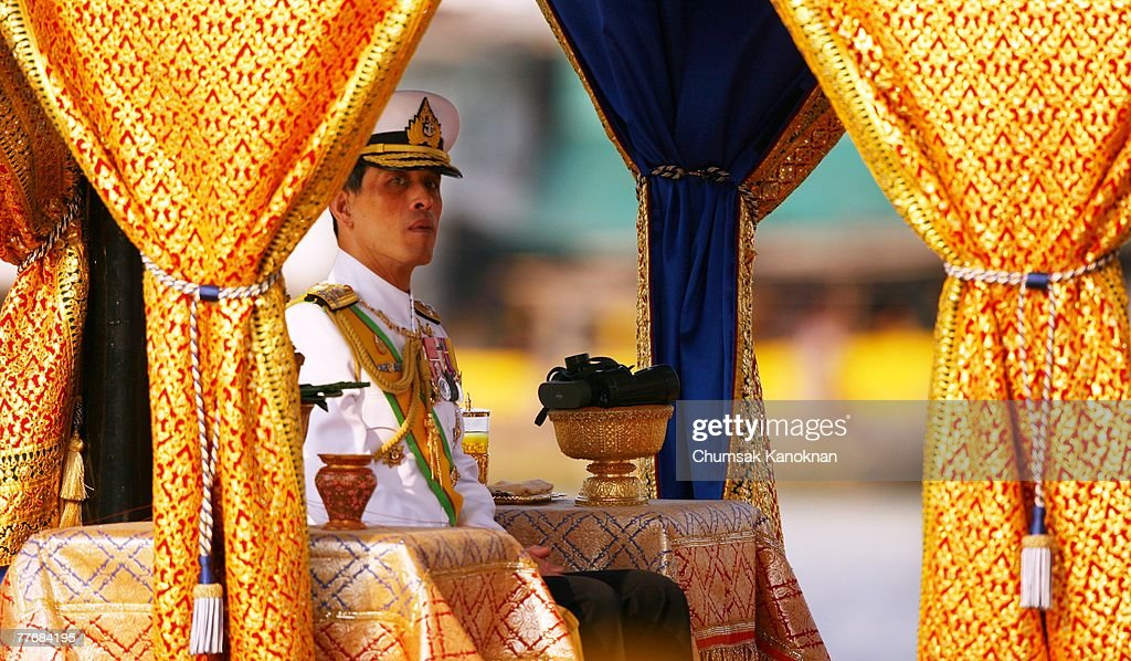 Thai Crown Prince Vajiralongkorn sits on the Royal Barge on the Chao Phraya river during the Royal celebrations on November 5, 2007, in Bangkok, Thailand. Thailand's magestic royal barge procession, held to celebrate King Bhumibol Adulyadej's coming 80th birthday, swept along the Chao Phraya river without him. King Bhumipol, The world longest reigning monarch, has been in hospital since October 13 after suffering a blood clot in his brain.