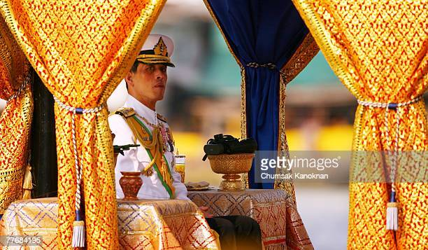 Thai Crown Prince Vajiralongkorn sits on the Royal Barge on the Chao Phraya river during the Royal celebrations on November 5 in Bangkok Thailand...