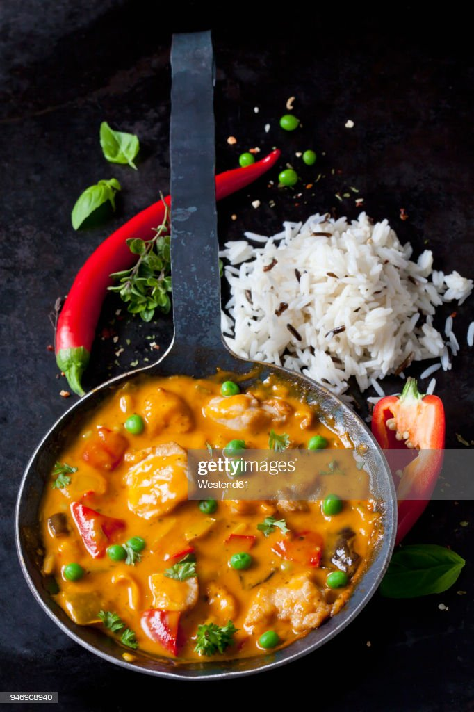 Thai Curry with chicken filets and basmati rice : Stock Photo