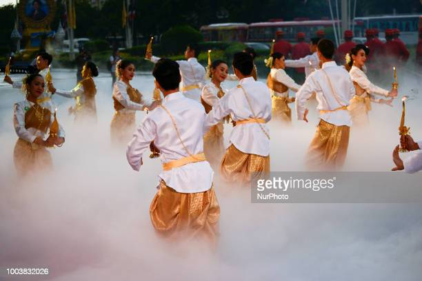 Thai dancer perform during the Buddha relics procession to mark Asanha Bucha Day in Bangkok Thailand 22 July 2018