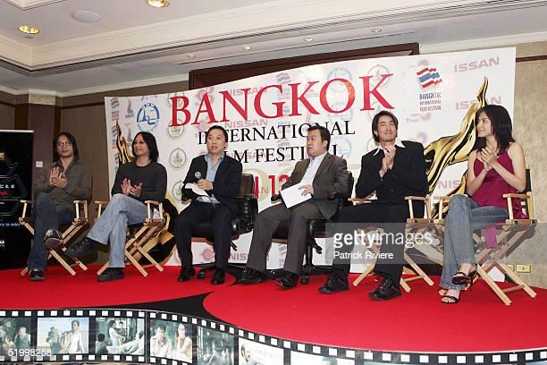 Thai Film personalities Oxide Pan Dany Pan Somchai Cheewasuttanon Alvin Lam actor Jav Jetrin Wattanasin and actress Lee Sinje attend a press...
