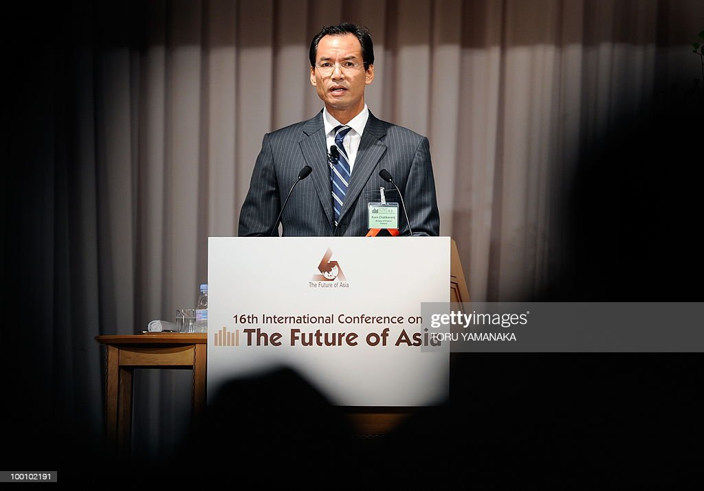 Thai Finance Minister Korn Chatikavanij delivers a speech during an internatilonal conference on the Future of Asia in Tokyo on May 21, 2010. Asian political, diplomatic, business and academic leaders attend the two-day symposium, entitled 'The Future of Asia.' AFP PHOTO/Toru YAMANAKA