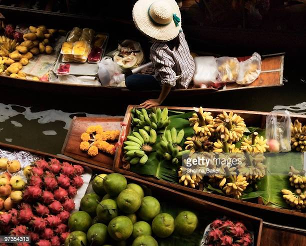 Thai floating market, overhead view