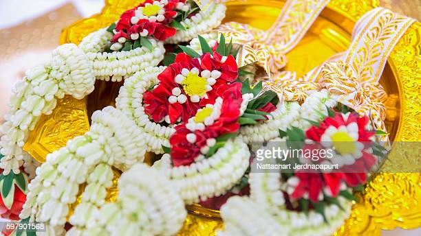 Thai Flower Garland with jasmine & roses garland prepare for wedding ceremony