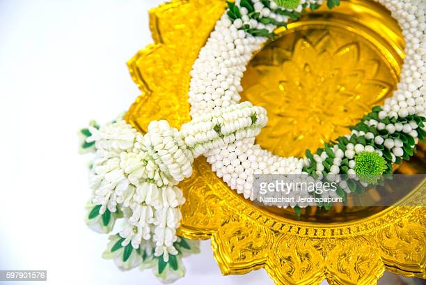 Thai Flower Garland with jasmine & roses garland prepare for wedding ceremony