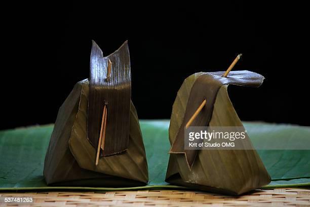 Thai food in banana leaf warped