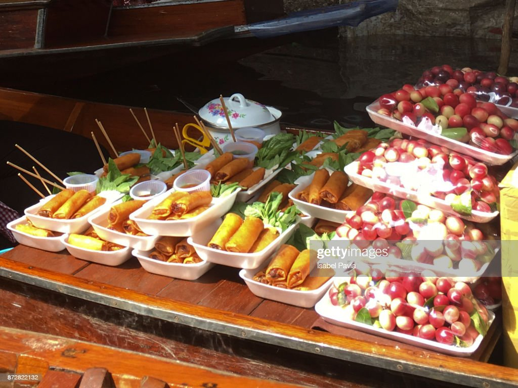 Thai Food In Floating Market Bangkok Thailand Stock Photo