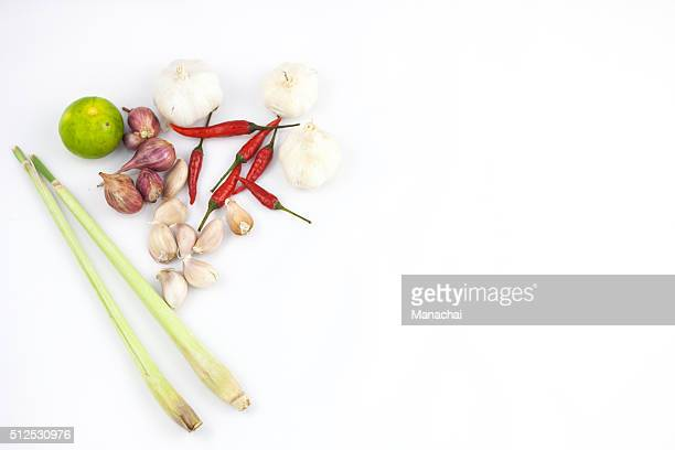 thai food ingredient on white background