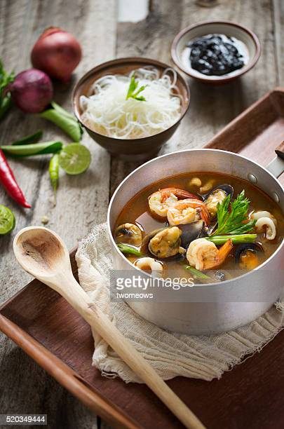 Thai food spicy and sour seafood tom yam soup.